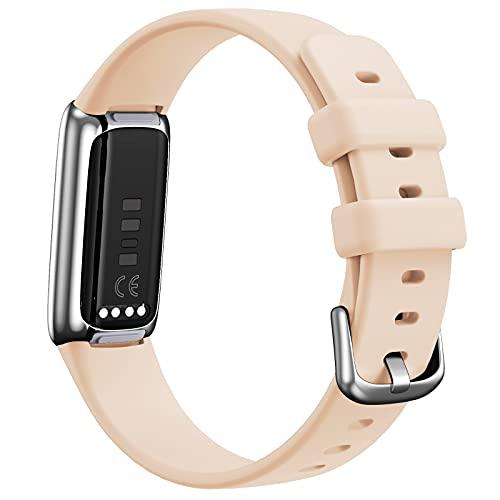 Uhrenarmbänder Kompatibel mit Fitbit Luxe Bracelet Watch Band Fitness Armband, Wristband aus Silicone Strap Herren Damen Sport Ersatzarmband Ersatzbänder armbanduhr 90mm + 100mm (Beige)