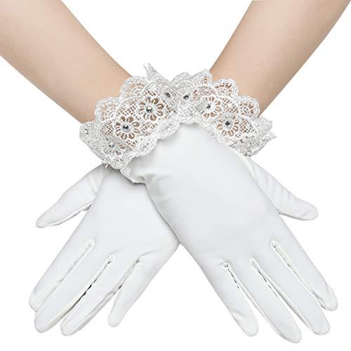 Coucoland Hochzeit Braut Handschuhe Dekoriert mit Lace Damen Kurze Satin Handschuhe Opera Fest Party Damen Spitzen Handschuhe Fasching Kostüm Accessoires (Weiß)