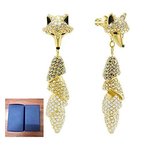 OOFAY Damas Fox Colgante Oreja Clavos, Pendientes de Cristal de Lujo de la Novia Accesorios no alérgicos (Tres Maneras de Usar) para Fiesta Boda Amor Regalos (1 Pares)