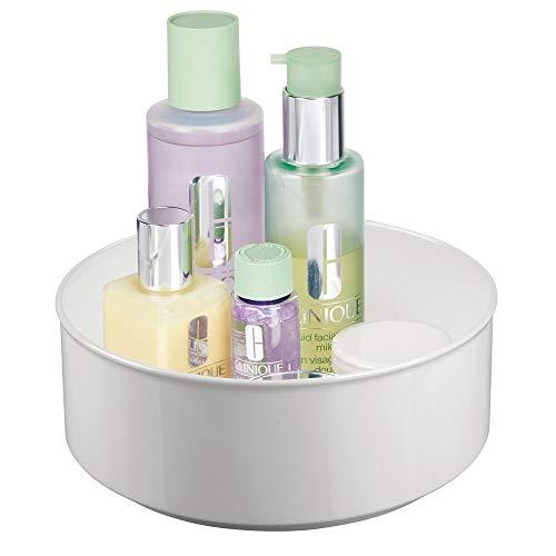 mDesign roterande sminkförvaring — rund sminkhållare i plast och rostfritt stål — förvaringshylla för smink, hudkräm och vitaminer — Ljusgrå