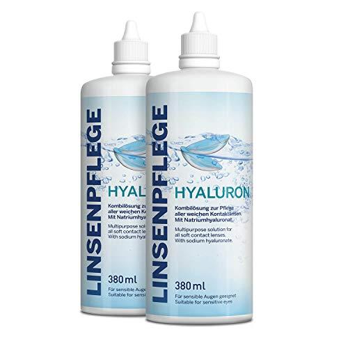 Linsenpflege Hyaluron 2er-Pack 760 ml. Premium All-in-One Kombilösung mit Hyaluron für alle weichen Kontaktlinsen inkl. antibakteriellen Behälter