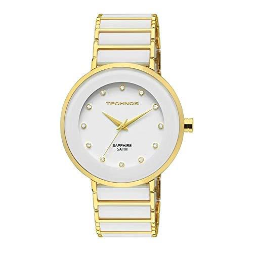 Relógio Technos Feminino Dourado Pulseira Aço Com Cerâmica Dourado