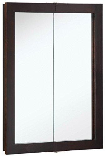 "Design House 541334 Ventura Framed Mirrored Medicine Cabinet in Espresso, 24"" W x 30"" H"