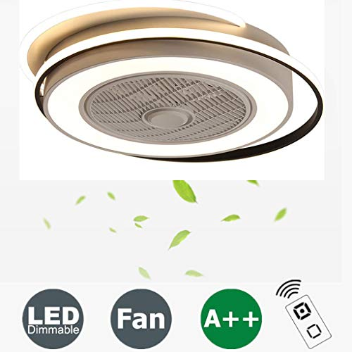 LED-Deckenventilator Mit Licht Stufenlos Dimmbar Mit Fernbedienung, 3 Geschwindigkeiten, Moderne Unsichtbare Fan Deckenleuchte Esszimmer Schlafzimmer Wohnzimmer Ventilator-Lampen Beleuchtung Ø62CM