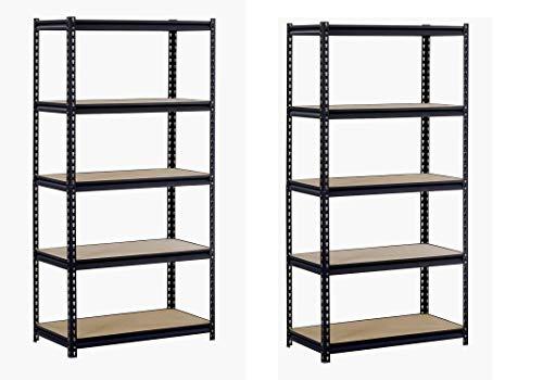 EDSAL Muscle Rack URWM185BLK Black Steel Storage Rack, 5 Adjustable Shelves, 3000 lb. Capacity, 72″ Height x 36″ Width x 18″ Depth (Pack of 2)