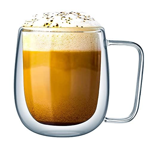 Tazza in Vetro a Doppia Parete Resistente al Calore Bicchieri Termico Trasparente per Espresso Caffè Cappuccino Tazza da Tè di Grande Capacità con Manico, 250 ml