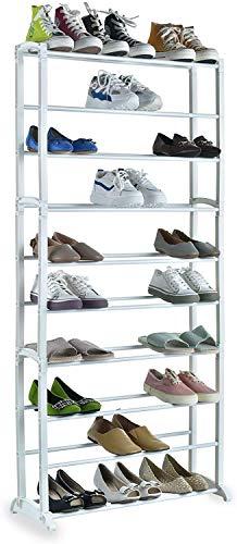 Schuhschrank mit 10 Ebenen - Schuhregal - Schuhablage - Schuhständer für 30 Paare Schuhe, weiß,...