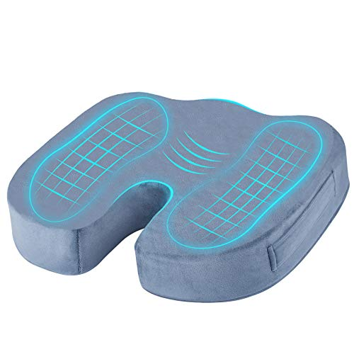 Memory Foam Seat Cushion. Instant Relief of Your Back, Coccyx and Sciatica Pain. Seat Booster for Car and Office Chair. Improves Posture Without much Effort. 2 Levels of Firmness Available
