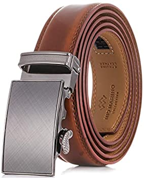 Marino Men's Genuine Leather Ratchet Dress Belt With Automatic Buckle Trim to Fit Enclosed in an Elegant Gift Box - Radiant Ore - Burnt Umber - Adjustable from 28  to 44  Waist
