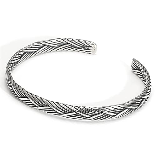 YABEME Pulsera Brazalete de Plata esterlina 925, joyería de Brazalete de Moda Fina Unisex Ajustable Abierta Simple de Moda, Regalo de cóctel de Boda de Aniversario,C
