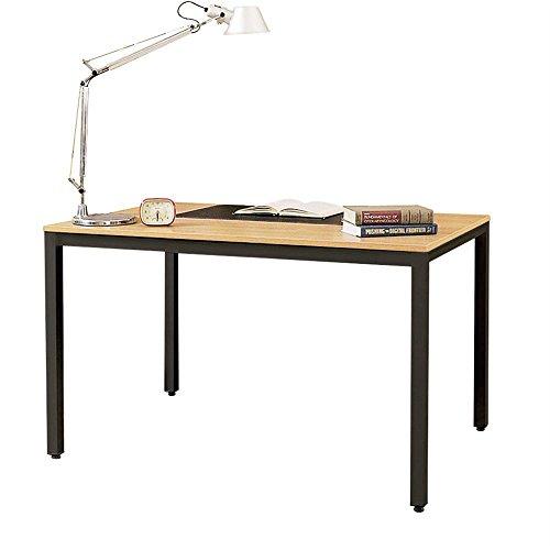 Need Schreibtisch großer Computertisch 138x55cm PC Tisch für Bürotisch Arbeitstisch Esstisch Holz, Teak & Schwarz AC3BB-140-N