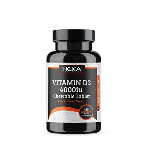 Vitamin D Chewable Tablets – 4000iu High Strength Vitamin D3 - Immune System Support - 420 Summer Berry Supplements - Suitable for Vegetarians - Adults High Dose - Cholecalciferol