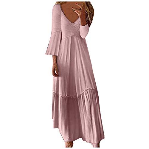 VEMOW Vestido Largo Vintage Elegante Falda con Cuello En V Y Cuello En V SóLido De Cintura Alta Casual para Mujer SeñOras Tallas Grandes Vestidos De Playa Verano Otoño