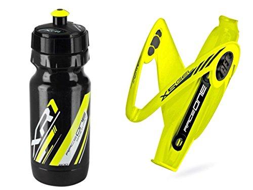 Raceone.it - Kit Race Duo X5 Gel (2 PCS): Porta Bidon X5 + Bidon de Ciclismo XR1 Bici Carrera de Ruta/Bicicleta de Montaña MTB/Gravel Bike. Color: Amarilo/Negro 100% Made IN Italy