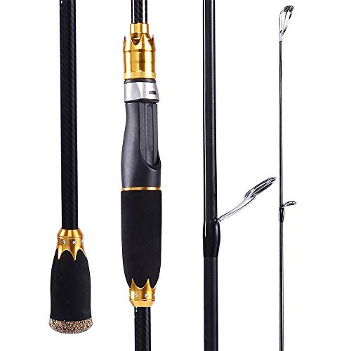 Hayandy 1.8m 2.1m Lure Fishing Rod Casting Reise Carbon-Spinnrute Tragbarer 4 Abschnitte Angel-Yellow_2.1m (Color : Yellow, Size : 2.1m)