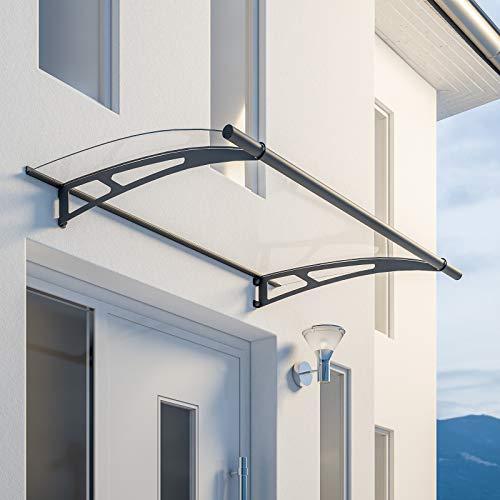 Schulte Vordach Überdachung Haustürvordach Acrylglas klar Stahl anthrazit Pultbogenvordach,150x95cm