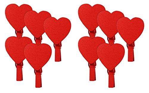 COM-FOUR® Mini Deko-Holzklammer mit Motiv (Herz Rot/Rot - 10 Stück)
