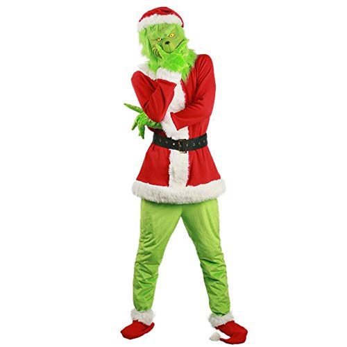Christmas Santa Costume Deluxe with Green Mask for Adult, Halloween Xmas Funny Cosplay Costume Props (Red, L)