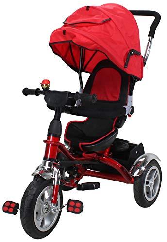 Miweba Kinderdreirad Schieber 7 in 1 Kinderwagen - 360° Drehbar - Luftreifen - Heckfederung - Laufrad - Dreirad - Schubstange - Ab 1 Jahr (Rot)