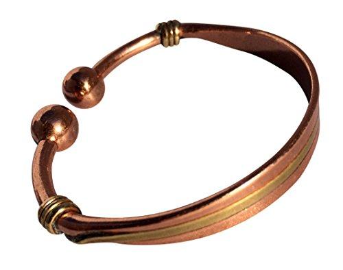 magnetisch solide Kupfer Drehmoment Armband eingelegt mit Messing - 3 Handgelenk Größen - CCB -mb35 - Small - 153mm (6