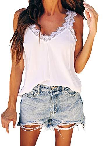GOSOPIN Damen Spitze Leibchen Tank Tops ärmellose Lose Oberteile Frauen Weste Bluse T-Shirt tägliche Sommer Casual and sexy, Spitze-weiß, S