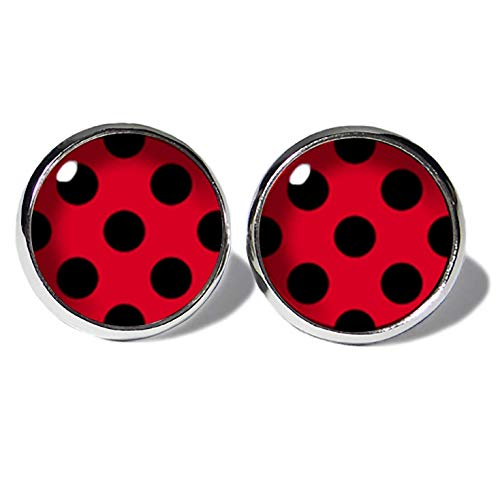 Schwarz-Rot Polka Dots Ohrstecker ABOUKI Damen Mädchen Kind Kinder Edelstahl Ohrschmuck Motiv Punkte gepunktet Rockabilly handgefertigte Ohrringe silber-farben