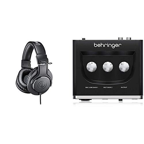 Audio-Technica ATH-M20XAuriculares de Diadema Cerrados, Color Negro + Behringer U-PHORIA UM2 Equipos de música adicionales Negro
