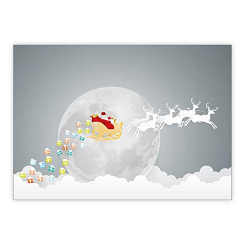 De set: grappige rendieren slee kerstkaart in Papercut optiek • Kerstwenskaarten set met enveloppen voor het feest van de liefde als cadeaukaart voor familie en vrienden 10 Weihnachtskarten grijs