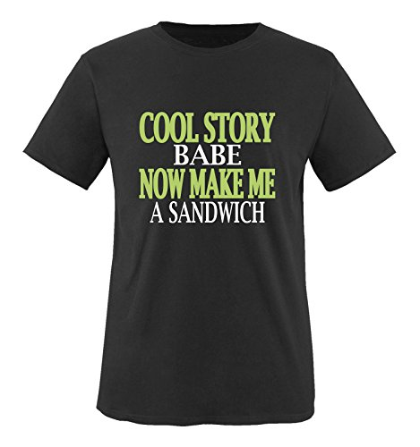 Comedy Shirts - Cool Story Babe. Now Make me a Sandwich - Herren T-Shirt - Schwarz/Weiss-Grün Gr. XXL