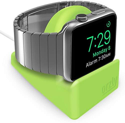 Orzly Soporte Compacto para Apple Watch - Compatible con el Modo Nightstand - Soporte Verde con Ranura integrada para Cables (Compatible con 38 mm y 42 mm y 40 mm y 44 mm)