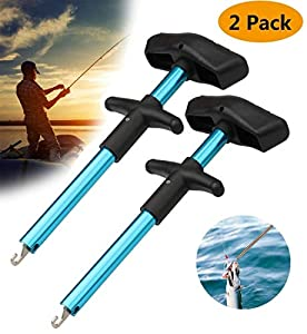 Meethome Easy Fish Hook Remover, 2019 New Squeeze-Out Fish Hook Separator Tools, Portable Easy Reach Aluminum Fishing Hooks Extractor (Blue 2 Pack)