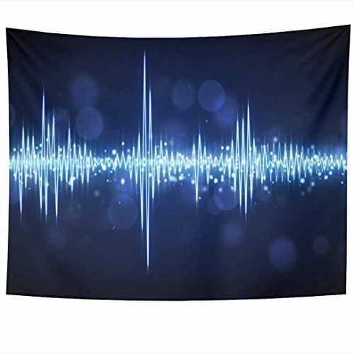 Tapices para colgar en la pared Gráfico Fiesta Azul Audio Forma de onda Nivel Ola Computadora Nadie Ecualizador Tecnología generada Texturas Tapiz Manta de pared Decoración del hogar Sala de estar Dor
