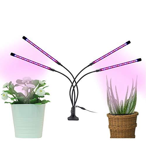 Pflanzenlampe, LED Gartenbaulampe Blühendes Wachstum 360 ° einstellbare Heftklammer 4 Köpfe Vollspektrum-Wachstumslampe mit Timing AUTO EIN / AUS 3/6 / 12H Zyklus-Timer 3 Modi 9 Helligkeit