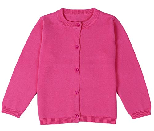 GSVIBK Girls Cardigan Long Sleeve Crewneck Cardigans Solid Knit Button Sweater Cardigan Baby Girl 5-6Y Rose Red 6112