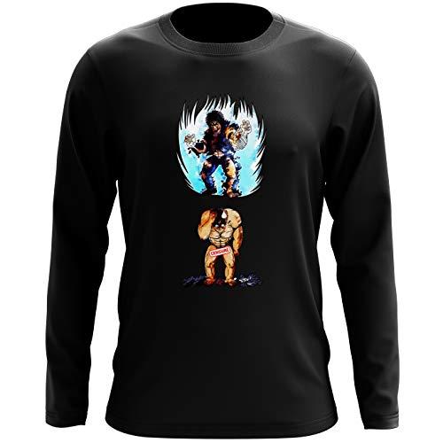 Okiwoki T-Shirt Manches Longues Noir Parodie Ken Le Survivant - Kenshiro - Trop de Puissance. !!! : (T-Shirt de qualité Premium de Taille L - imprimé en France)
