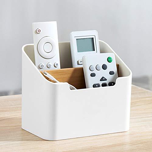 J TOHLO Soporte para Mando a Distancia con 2 Compartimentos Organizador de Escritorio Titular del Control Remoto para Accesorios de Medios para DVD, BLU-Ray, TV, Roku o Apple TV