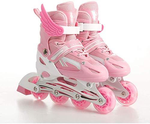 Patinales en línea ajustables para niños, 2 colores y 3 tamaños con ruedas de iluminación para principiantes de rodillo divertido parpadeante iluminando patines para niños niños y niñas,Rosado,L