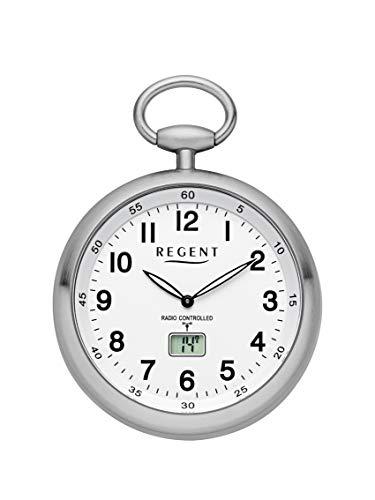 REGENT Funk-Taschenuhr – Zeitloses Accessoire für KULTIVIERTE Herren – Super ablesbar – Material: Stahl – Inklusive Kette (Gehäuse-Ø 49 mm) – C342632 (Weiß)