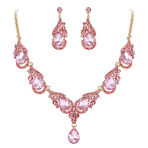 EVER FAITH Women's Crystal Luxury Floral Wave Waterdrop Bridal Necklace Earrings Set Pink Gold-Tone
