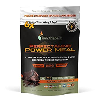 BodyHealth PerfectAmino Complete Power Meal Replacement Shake  Dark Chocolate Pouch 20 Servings  Organic Protein Powder Drink w/ MCT Oil Probiotics Vegan High Nutrition for Weight Loss Diet