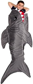 Silver Lilly Animal Tail Blanket - Plush Animal Sleeping Bag Blanket for Kids  Gray Shark