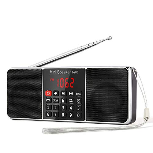 PRUNUS J-288 Portable Radio AM FM Battery Operated Radio with Bluetooth Speaker, Sleep Timer, Power-Saving Display, Ultra-Long Antenna, AUX Input & USB Disk & TF Card MP3 Player (Black)