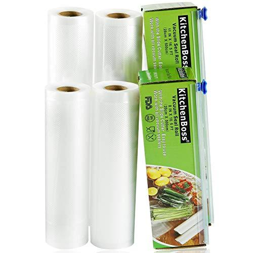 KitchenBoss Bolsas de Vacío Profesional 4 Rolls 20x500 y 28x500cm con 2 Caja de Corte (No Más Tijeras) para Almacenaje de Alimentos, Sous Vide Cocina, BPA Free