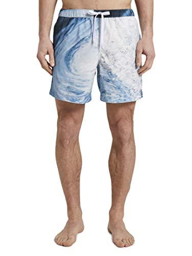 TOM TAILOR Herren Beachwear/Bademode Badeshorts Blue Big Wave Design,XL,21878,6000