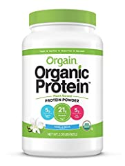 Includes 1 (2.03 pound) orgain organic plant based vanilla bean protein powder 21 grams of organic plant based protein (pea, brown rice, chia seeds), 5 grams of organic dietary fiber, 5 grams of net carbs, 0 grams of sugar, 150 calories per serving U...