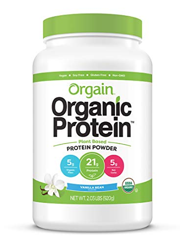 Orgain Organic Plant Based Protein Powder, Vanilla Bean - Vegan, Low Net Carbs, Non Dairy, Gluten Free, Lactose Free, No Sugar Added, Soy Free, Kosher, Non-GMO, 2.03 Pound (Packaging May Vary)