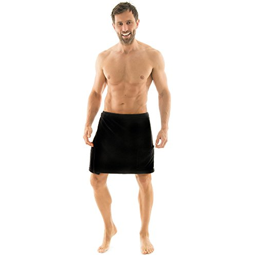 Toalla para sauna Celinatex para hombre con diseño de forro polar, con cierre de velcro, una bolsa, más fácil de falda escocesa, Málaga, confortable, suave, muy cómodo de usar y cómodo de llevar de toalla, poliéster, negro, small/medium