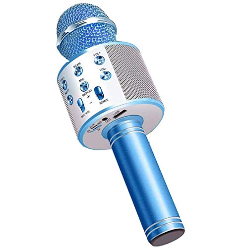 LOVEHOUGE Wireless Bluetooth Karaoke Microphone,Portable Handheld Mic Speaker for Company Meeting Kids Home KTV Party,Compatible with Android & Ios,blue