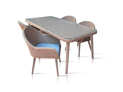 N\A gevlochten polyrotan zitgroep 4+1 stoel tuintafel (180 x 100 cm - incl. glasplaat), 4 personen, stoelen incl. zitkussens, aluminium houtlook, tuinmeubelset | bruin, turquoise