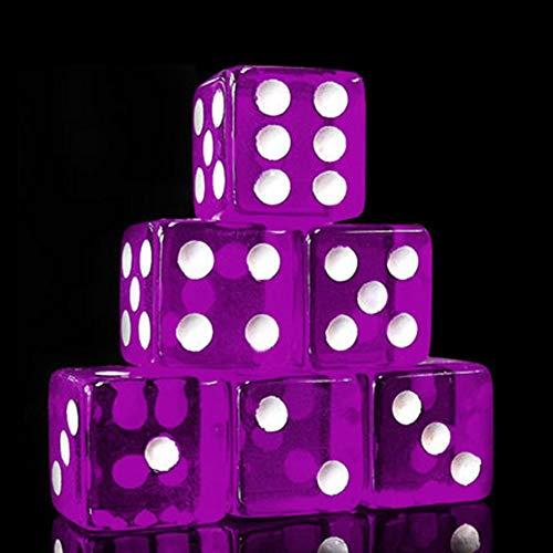 Würfel, Denpetec Durchsichtig Bunt 6 Sided Würfelspiel für Brett Spielen, Würfel Spiele, Math Spiele, Party Spiele, Tablet Spiele Würfel Sets - Lila, Free Size